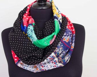 SALE -Infinity scarf,Loop scarf,   patchwork  scarf,polka dot scarf