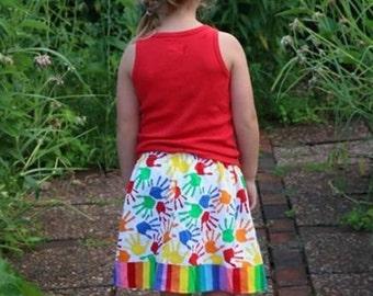 Rainbow and Handprints  Skirt (2T, 3T, 4T, 5, 6, 7, 8, 10)