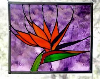 Bird of Paradise Window, Crane Flower, Glass flower, Stained Glass Panel, Suncatcher, Home & Living, Home Decor Panel, Handmade, Mothers Day
