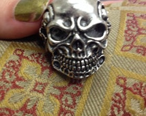 Mens large skull biker ring retro rock n roll Kolbi Jean