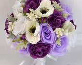 "17 Piece Package Wedding Bridal Bouquet Silk Flowers Bouquets Bride Groom Poppy Purple PLUM LAVENDER WHITE Ivory ""Lily of Angeles"" PULV08"