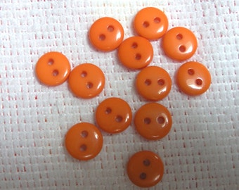 Orange Tiny 2 Hole Plastic Doll or Baby Buttons ... 3/8  Inch ... Set of 12 ... Item No. L246
