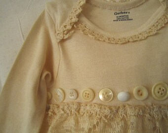 Long Sleeved Tea Dyed Onsie Size 18 months