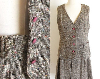 Vintage Mod Outfit, 1960s Tweed Skirt and Vest, 60s Mini Skirt and Vest, Brown Skirt and Vest