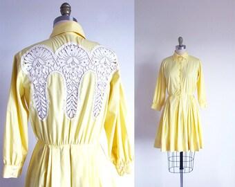Vintage 50s Yellow Dress, Cotton Shirtwaist, 1950 Rockabilly Dress, 50s Swing Full Skirt Dress, Western Dress