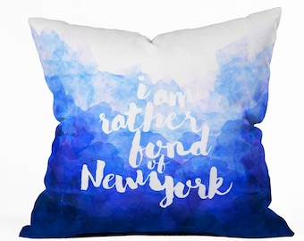 I Am Rather Fond of New York decorative pillow throw cushion, navy blue NY theme home apartment dorm decor, travel theme housewarming gift