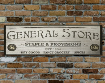 Custom General Store Wood Sign - HandCrafted Rustic Wooden Decor