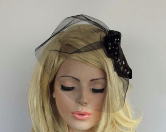 Black Headpiece Wedding Headdress  Bridal Blusher Veil Sequined Visor Retro Style Look OOAK Luxury Modern WeddingNoir Accessory Dark Romance