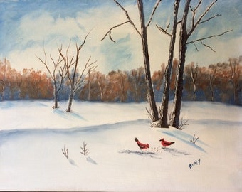 Vintage original folk art painting with snow and Northern Cardinals, ready for winter