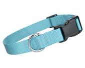 Deluxe Light Blue Nylon Collar - Nylon Dog Collar - Light Blue Pet Collar - Adjustable Dog Collar - Nylon Light Blue Dog Collar