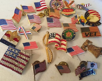 USA Flags Patriotic Vintage De-stash lot 911