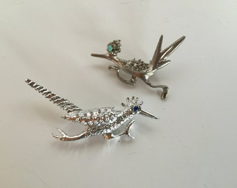 Roadrunner Bird Brooches Collection Vintage lot 1029
