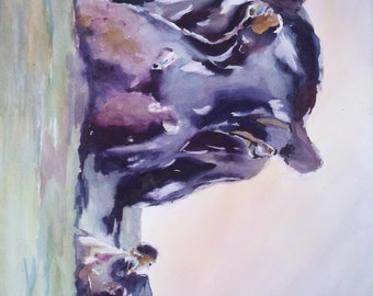 "hippo, animal art, mom and baby, baby animal, nature Art. Hipp-licious. Original watercolor painting (22"" x 30"")."