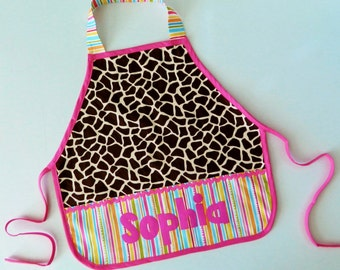 Giraffes and stripes personalized appliqued pretend play apron smock for toys, cooking tools, art supplies - for children 12 months to 6