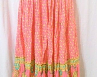 Women's Boho Hippie Broomstick Long Print Skirt Size Medium