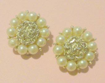 Vintage Faux Pearl and Chain Link Cluster Clip Earrings