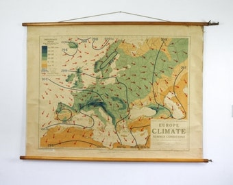 Vintage Map, Philips Map Series,  Europe Climate