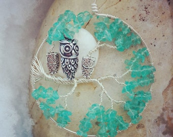Tree of Life Pendant With Mommy Owl and baby Owls - Custom