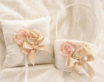 Flower Girl Basket and Ring Bearer Pillow Vintage Ring Bearer Pillow, Rose Gold  Round  Flower Girl Basket Ring Pillow CUSTOM COLORS