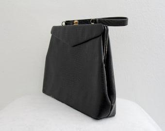 1960s Faux Alligator Purse Black Animal Skin Handbag Classic Slim Style Womens Vintage Bag