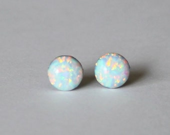 5mm Fire Opal stud earrings-  Pure Titanium opal earrings - White opal studs- Small opal earrings- Pure Titanium earrings- Hypoallergenic