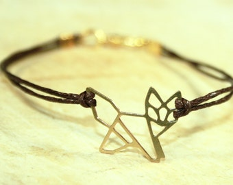 Fine Origami Animal waxed cord Bracelet goldcolored - special gift for best friends sisters - mothers and daughters and the girlfriend