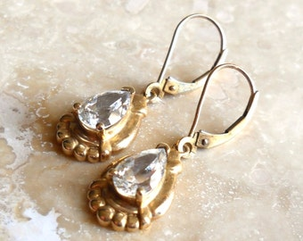 Vintage 10K Gold Clyde Duneier White Topaz Pear Shaped Earrings