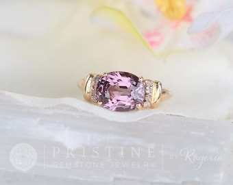 Purple Spinel Ring over 3ct in 10K Yellow Gold with Diamond Accents, Gemstone Jewelry Ring