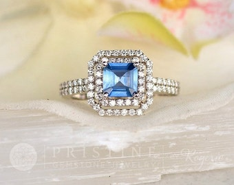Blue Sapphire Engagement Ring Asscher Cut Blue Sapphire in 14k White Gold Double Diamond Halo Wedding Anniversary