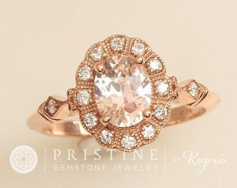 Peach Champagne Sapphire Engagement Ring Art Deco Rose Gold Diamond Halo Wedding Ring or Anniversary Ring Natural Sapphire
