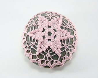 Crochet stone, crochet rock, star, beach wedding, ring bearer pillow, pink rose quartz thread, bowl element, paperweight, mothers day