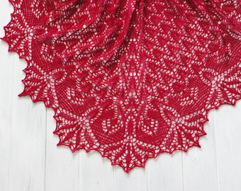 Hand knitted merino wool triangular lace shawl in dark raspberry colour. Warm knitted wrap, woll lace shawl. Gift for her. Made to order.