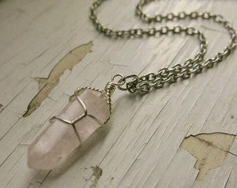 Crystal Quartz Necklace Crystal Point Necklace Pink Quartz Necklace Raw Crystal Jewelry ~ Gifts
