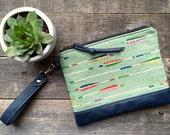 Traveler Wallet Clutch Wristlet // Sage Green Navy Leather // Rosebud Originals
