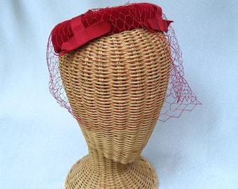 Vintage Ladies Halo Hat Red Velvet Veil Ribbon Bows