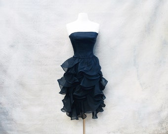Vintage Albert Nipon strapless black cocktail dress - 70s designer tiered ruffled skirt party dress - medium