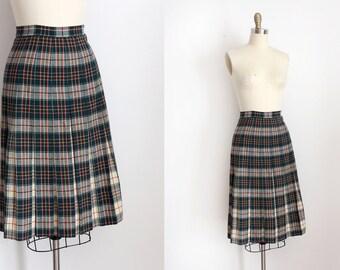 vintage 1930s skirt // 30s green wool plaid skirt