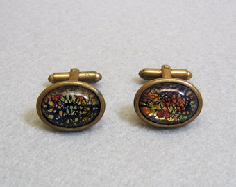 Colorful Dichroic Glass Cufflinks, Vintage 1960s