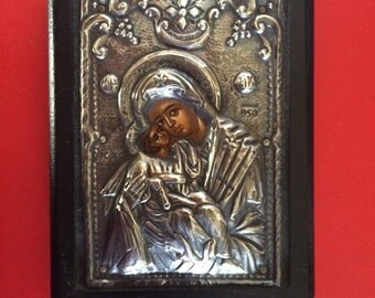 Hand Painted Silver Plated Icon of The Mother of God