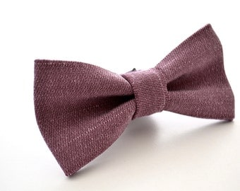 Mens Bowtie in Plum Suiting Material, Dusty Plum Bow Tie, Dusty Purple Bow Tie, Groomsmen Bow Tie, Wedding Bowties, Adjustable Bow Tie