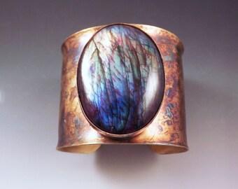 Rainbow Labradorite- Spectrolite- Rainbow Swirl Patina- Boho Chic- Gorgeous Statement Cuff Bracelet