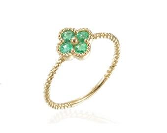 Emerald Clover 4-Leaf 18K Gold Ring Beaded Milgrain Details FG171