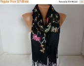Black Embroidered Scarf,Fall Winter Shawl, Oversized, Bridesmaid, Bridal Accessories, Gift Ideas For Her, Women Fashion Accesssories