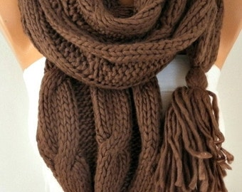 Brown Knitted Scarf Winter Accessories Chocolate Shawl Scarf Cowl Scarf Gift Ideas For Her Women Fashion Accessories Christmas  Gift