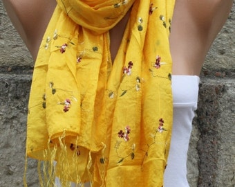 Yellow Floral Scarf Gold Scarf Shawl Easter Cowl Scarf Bridal Acceessories bridesmaid gift  Gift Ideas For Her  Women Fashion Accessories