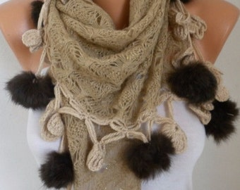 Beige Scarf Valentine's Gift Winter Accessories Shawl Cowl Scarf Gift Ideas For Her Women Fashion Accessories