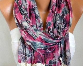 Floral Scarf,Fall Shawl,Teacher Gift,Beach Wrap,Cowl Scarf - Multicolor,Gift Ideas For Her, Women Fashion Accessories