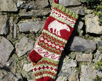 Pure Wool Christmas Stocking Knitted with Polar Bears Fair Isle Red Green White Holiday Sock Handknit Unique Xmas Decor PWGr