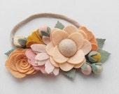 Baby Headband-Wildflower Felt Flower Bouquet Headband in Spiced Sugar-Headband-Baby Girl Headband-Baby Headbands-Newborn Headband