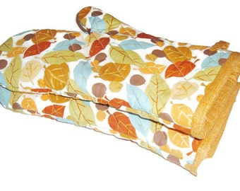 Pair of Oven Mitts - Bright Leaves with Orange - Gift for Foodie
